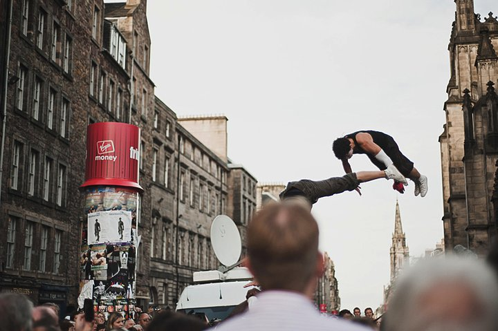 performers on High Street during Fringe